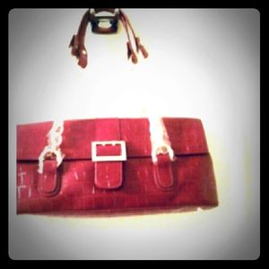 The Find Red HandBag With Gold Chain Straps